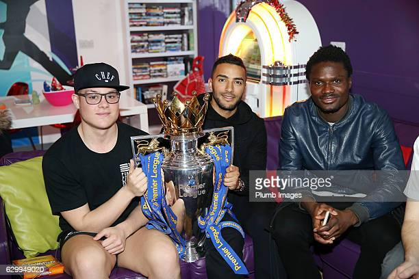 Danny Simpson and Daniel Amartey during the Leicester City Players Deliver Christmas Presents to Patients at Leicester Royal Infirmary on December 15...