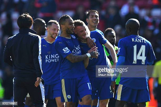 Danny Simpson and Jamie Vardy of Leicester City celebrate victory after the Barclays Premier League match between Sunderland and Leicester City at...