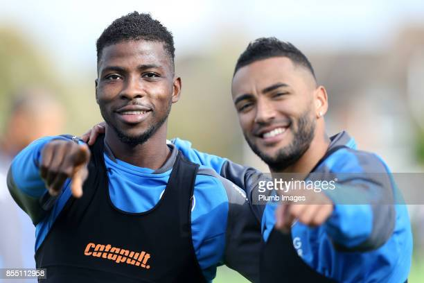 Danny Simpson and Kelechi Iheanacho during the Leicester City training session at Belvoir Drive Training Complex on September 28 2017 in Leicester...