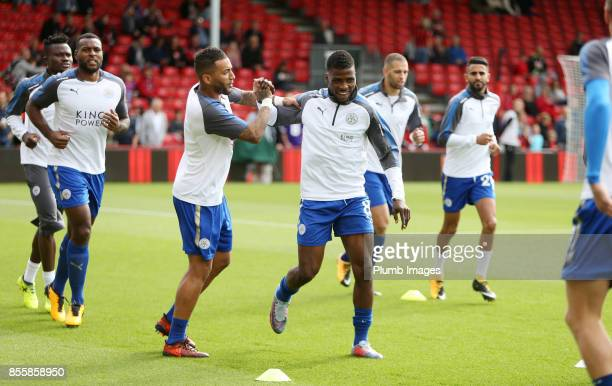 Danny Simpson and Kelechi Iheanacho of Leicester City warm up at Vitality Stadium ahead of the Premier League match between Bournemouth and Leicester...
