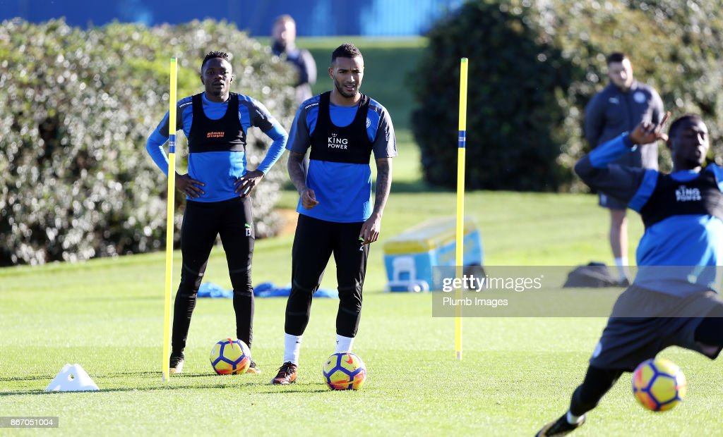 Danny Simpson during the Leicester City training session at Belvoir Drive Training Complex on October 27 , 2017 in Leicester, United Kingdom.