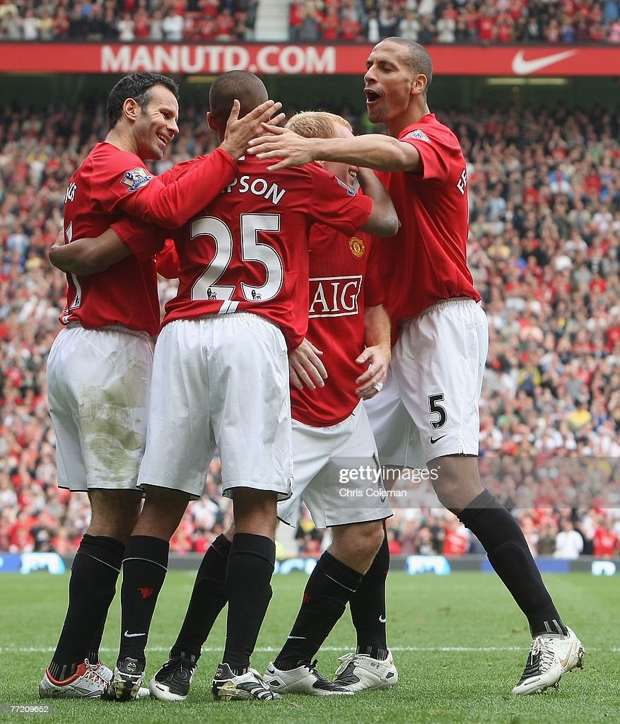 Danny Simpson is congratulated for his part in Wayne Rooney of Manchester United scoring their fourth goal during the Barclays FA Premier League match between Manchester United and Wigan Athletic at Old Trafford on October 6 2007 in Manchester, England.