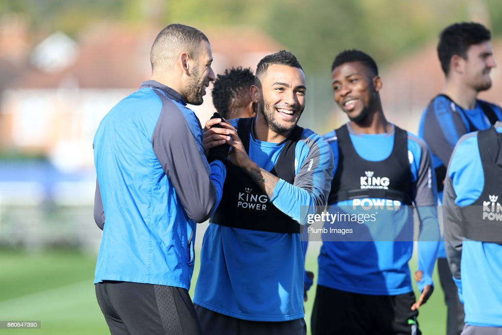 Danny Simpson jokes with Islam Slimani during the Leicester City training session at Belvoir Drive Training Complex on October 12 , 2017 in Leicester, United Kingdom.