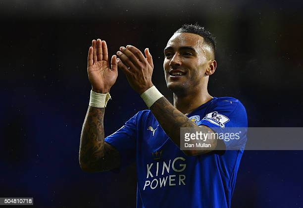 Danny Simpson of Leicester City applauds the supporters after his team's 10 win in the Barclays Premier League match between Tottenham Hotspur and...