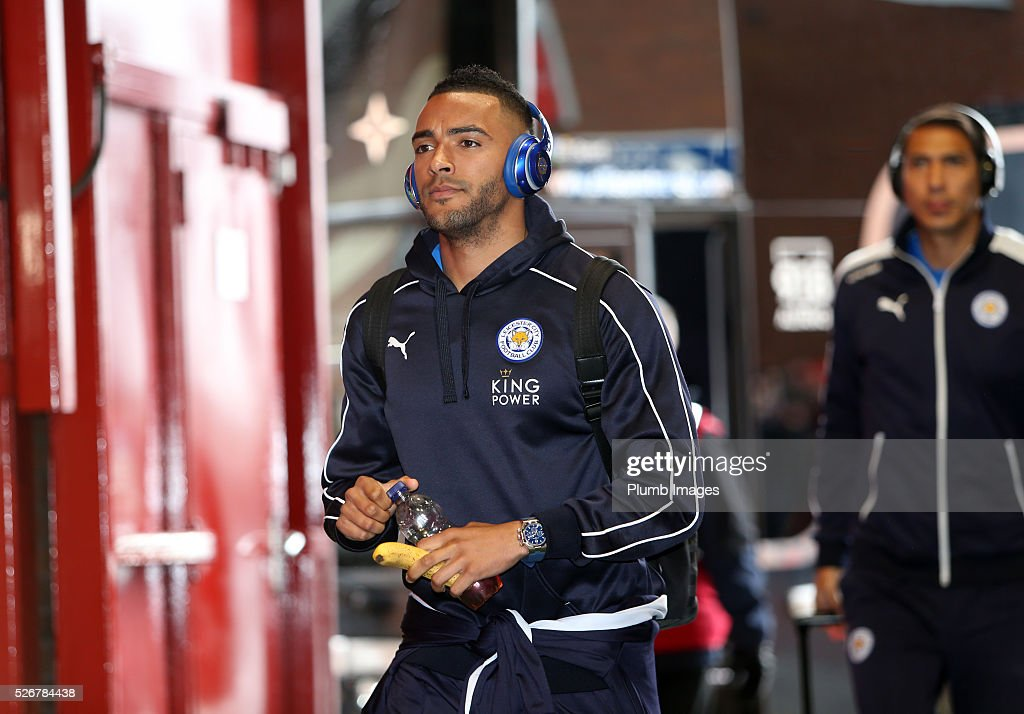 Danny Simpson of Leicester City arrives at Old Trafford ahead of the Premier League match between Manchester United and Leicester City at Old Trafford on May 01, 2016 in Manchester, United Kingdom.