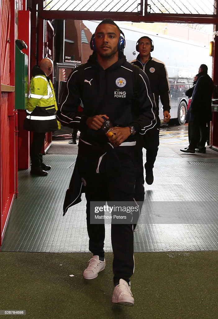 Danny Simpson of Leicester City arrives at Old Trafford ahead of the Barclays Premier League match between Manchester United and Leicester City at Old Trafford on May 1, 2016 in Manchester, England.