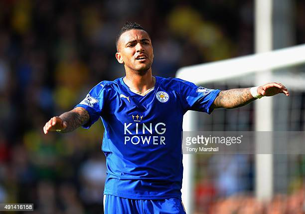 Danny Simpson of Leicester City during the Barclays Premier League match between Norwich City and Leicester City at Carrow Road on October 3 2015 in...