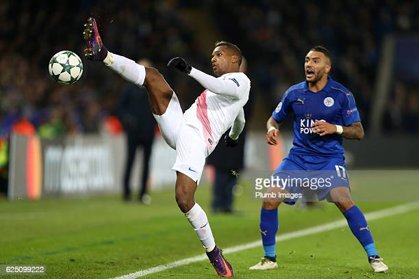 Danny Simpson of Leicester City in action with Jose Izquierdo of Club Brugge during the UEFA Champions League match between Leicester City and Club...