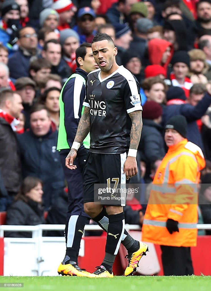 Danny Simpson of Leicester City reacts as he is sent off after receiving a second yellow card during the Premier League match between Arsenal and Leicester City at Emirates Stadium on February 14, 2016 in London, United Kingdom.