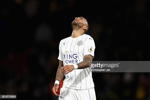 Danny Simpson of Leicester City reacts during the Premier League match between Watford and Leicester City at Vicarage Road on November 19 2016 in...
