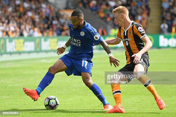 Danny Simpson of Leicester City shields the ball from Sam Clucas of Hull City during the Premier League match between Hull City and Leicester City at...