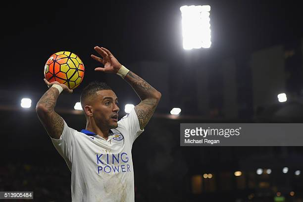 Danny Simpson of Leicester City takes a throw in during the Barclays Premier League match between Watford and Leicester City at Vicarage Road on...