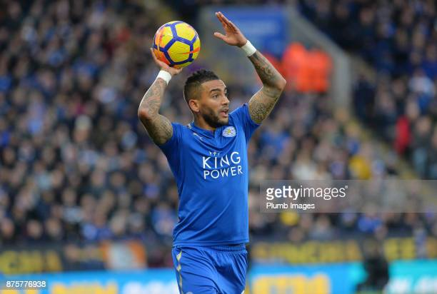 Danny Simpson of Leicester City takes a throw in during the Premier League match between Leicester City and Manchester City at The King Power Stadium...