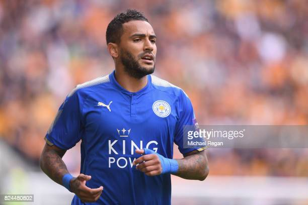 Danny Simpson of Leicester in action during the preseason friendly match between Wolverhampton Wanderers and Leicester City at Molineux on July 29...