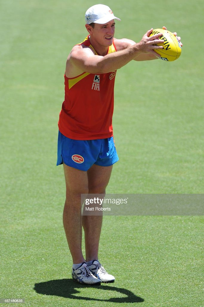 Danny Stanley prepares to kick during a Gold Coast Suns AFL pre-season training session at Metricon Stadium on December 18, 2013 on the Gold Coast, Australia.