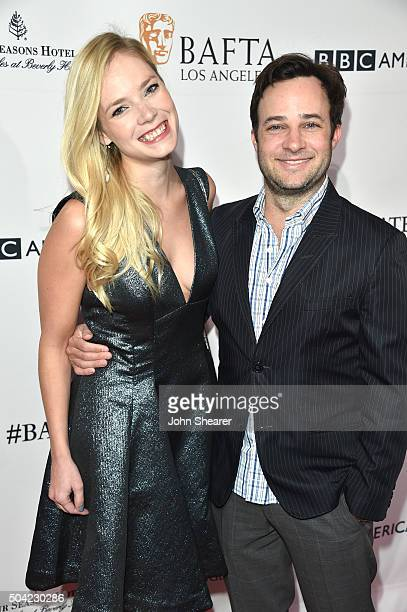 Danny Strong and Caitlin Mehner attend the BAFTA Awards Season Tea Party at Four Seasons Hotel Los Angeles at Beverly Hills on January 9 2016 in Los...