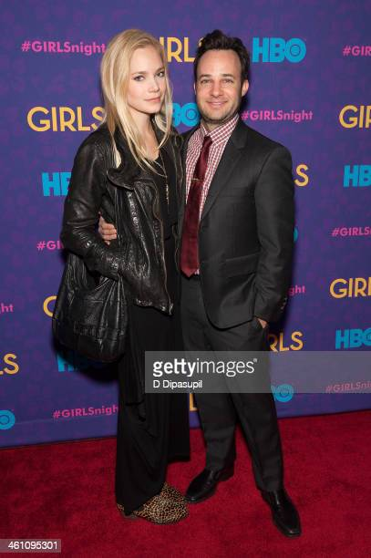 Danny Strong and Caitlin Mehner attend the 'Girls' season three premiere at Jazz at Lincoln Center on January 6 2014 in New York City