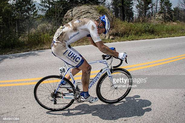 Danny Summerhill of the UnitedHealthcare Pro Cycling Team tries to ride again after a hard crash during stage 6 of the USA Pro Challenge on August 22...