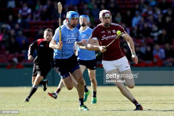 Danny Sutcliffe of Dublin defends Joseph Cooney of Galway during the 2017 AIG Fenway Hurling Classic and Irish Festival at Fenway Park on November 19...