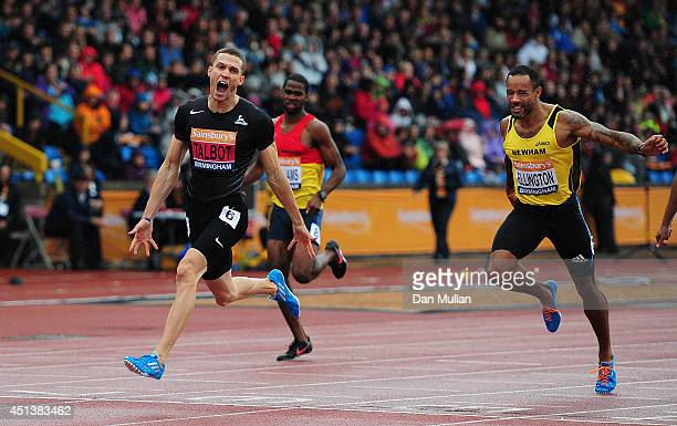 Danny Talbot celebrates after winning the Men's 200m Final during day two of the Sainsbury's British Championships at Birmingham Alexander Stadium on...