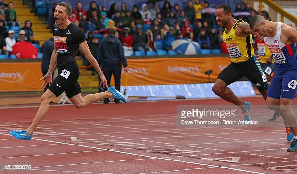 Danny Talbot celebrates beating James Ellington and Adam Gemili to win the men's 200metre final during day two of the Sainsbury's British...