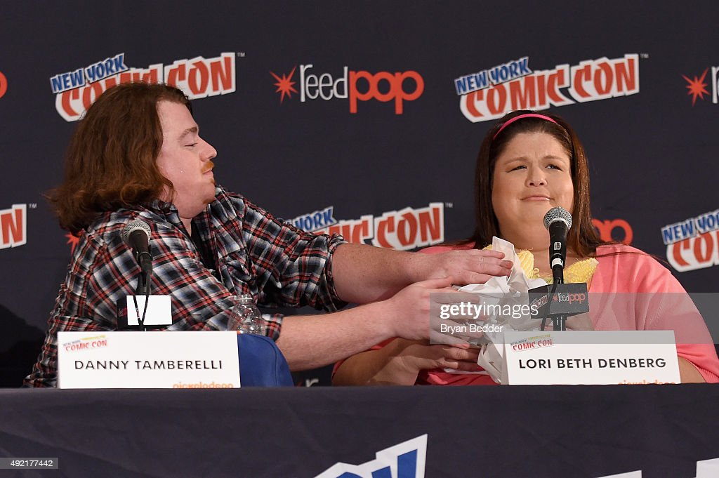 Danny Tamberelli and Lori Beth Denberg speak at The Splat: All That Reunion At New York Comic-Con on October 10, 2015 in New York City.