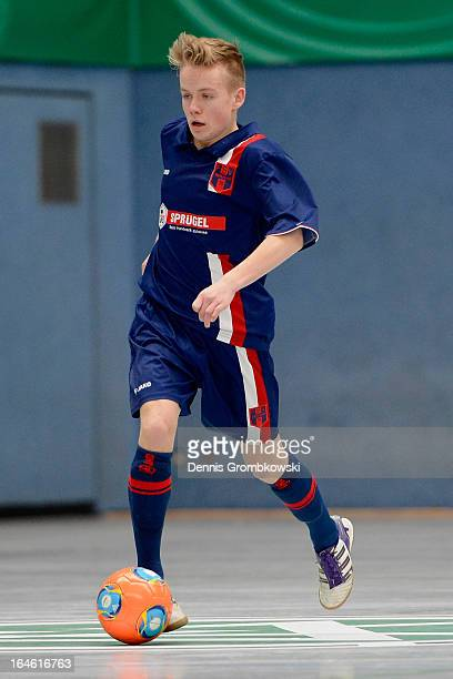 Danny Thomas of Hollenbach controls the ball during the DFB C Juniors Futsal Cup on March 24 2013 in Bergkamen Germany