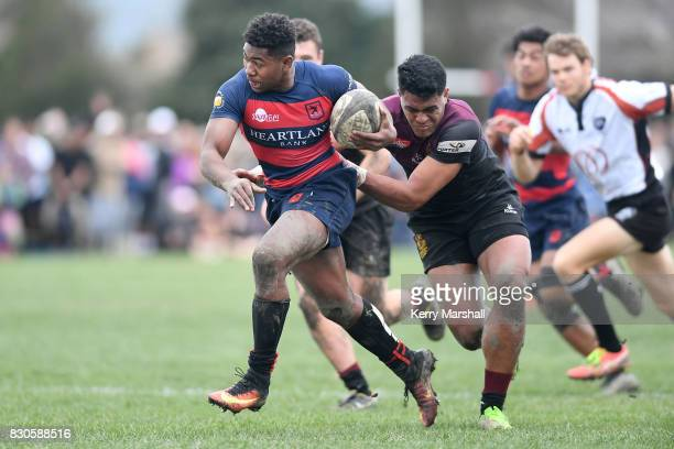 Danny Toala of Hastings Boys High School makes a break during the Super 8 Rugby Final match between Hastings Boys High School and Hamilton Boys High...
