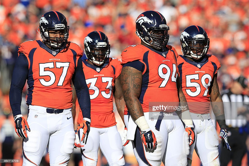 <a gi-track='captionPersonalityLinkClicked' href=/galleries/search?phrase=Danny+Trevathan&family=editorial&specificpeople=6475347 ng-click='$event.stopPropagation()'>Danny Trevathan</a> #59 and <a gi-track='captionPersonalityLinkClicked' href=/galleries/search?phrase=Terrance+Knighton&family=editorial&specificpeople=5732536 ng-click='$event.stopPropagation()'>Terrance Knighton</a> #94 of the Denver Broncos reacts in the second quarter against the New England Patriots during the AFC Championship game at Sports Authority Field at Mile High on January 19, 2014 in Denver, Colorado.