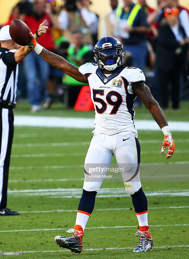 <a gi-track='captionPersonalityLinkClicked' href=/galleries/search?phrase=Danny+Trevathan&family=editorial&specificpeople=6475347 ng-click='$event.stopPropagation()'>Danny Trevathan</a> #59 of the Denver Broncos reacts after recovering a fumble against the Carolina Panthers in the second quarter during Super Bowl 50 at Levi's Stadium on February 7, 2016 in Santa Clara, California.