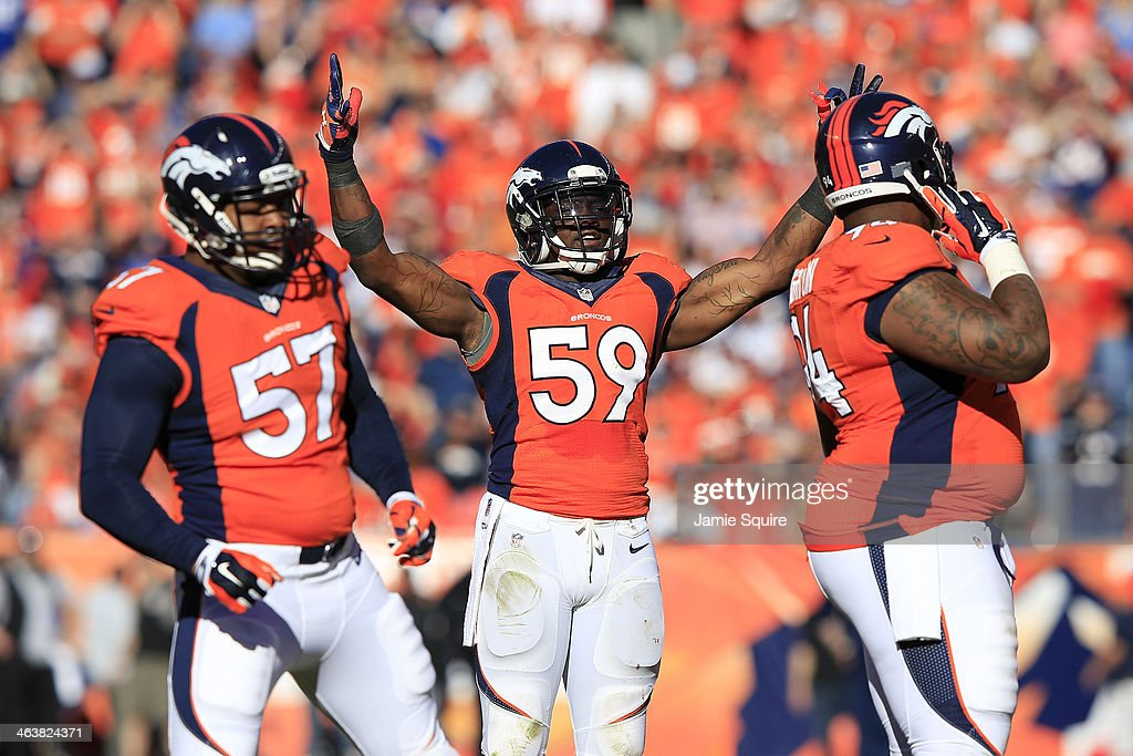 <a gi-track='captionPersonalityLinkClicked' href=/galleries/search?phrase=Danny+Trevathan&family=editorial&specificpeople=6475347 ng-click='$event.stopPropagation()'>Danny Trevathan</a> #59 of the Denver Broncos reacts in the second quarter against the New England Patriots during the AFC Championship game at Sports Authority Field at Mile High on January 19, 2014 in Denver, Colorado.