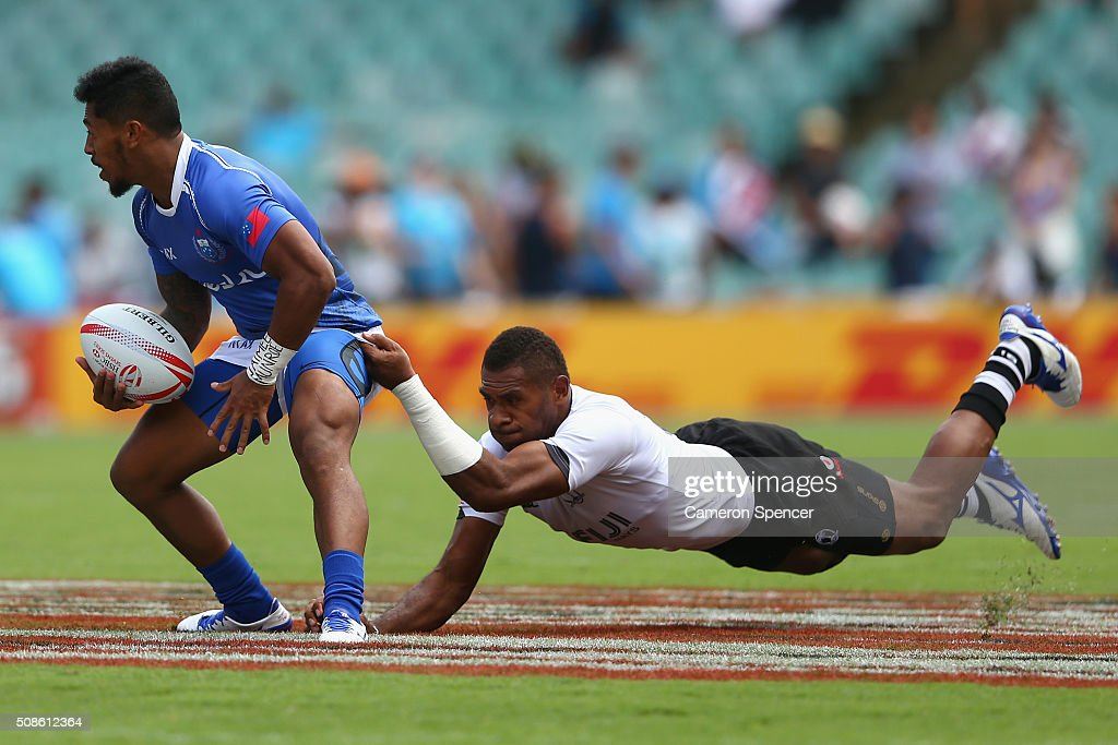Danny Tusitala of Samoa is tackled during the 2016 Sydney Sevens match between Samoa and Fiji at Allianz Stadium on February 6, 2016 in Sydney, Australia.