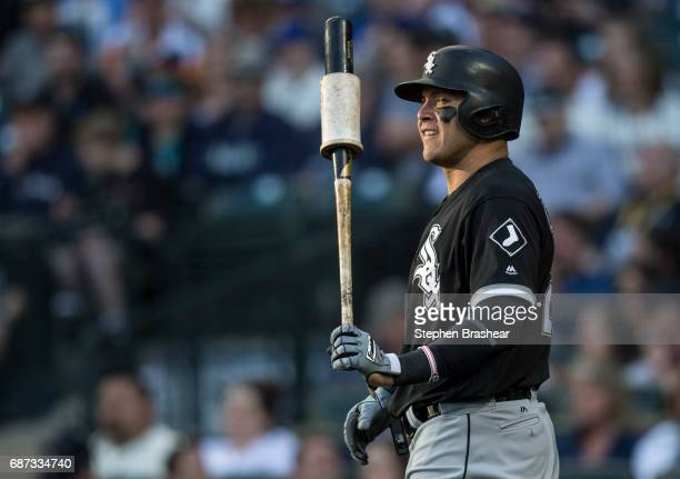 Danny Valencia against the Chicago White Sox stands in the ondick circle before an atbat in a game against the Seattle Mariners at Safeco Field on...