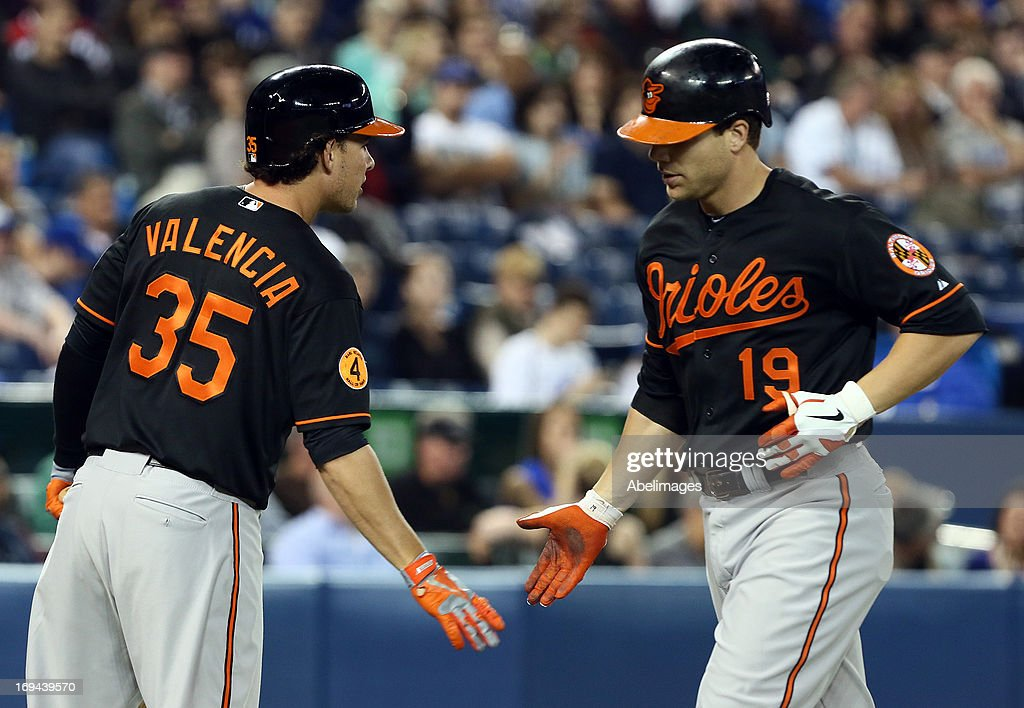 Danny Valencia #35 and Chris Davis #19 of the Baltimore Orioles celebrate Davis's home run against the Toronto Blue Jays during MLB action at the Rogers Centre May 24, 2013 in Toronto, Ontario, Canada.