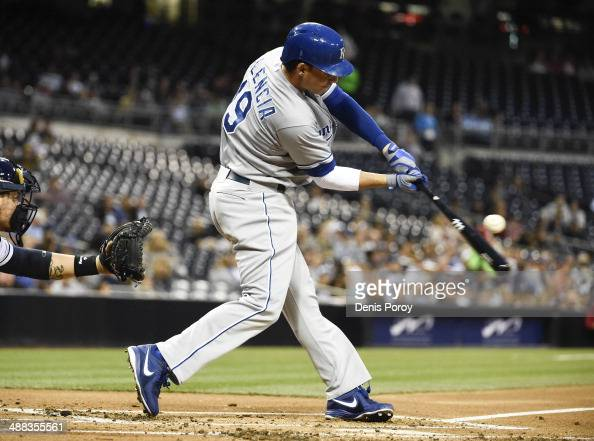 Danny Valencia of the Kansas City Royals hits an RBI single during the second inning of a baseball game against the San Diego Padres at Petco Park...