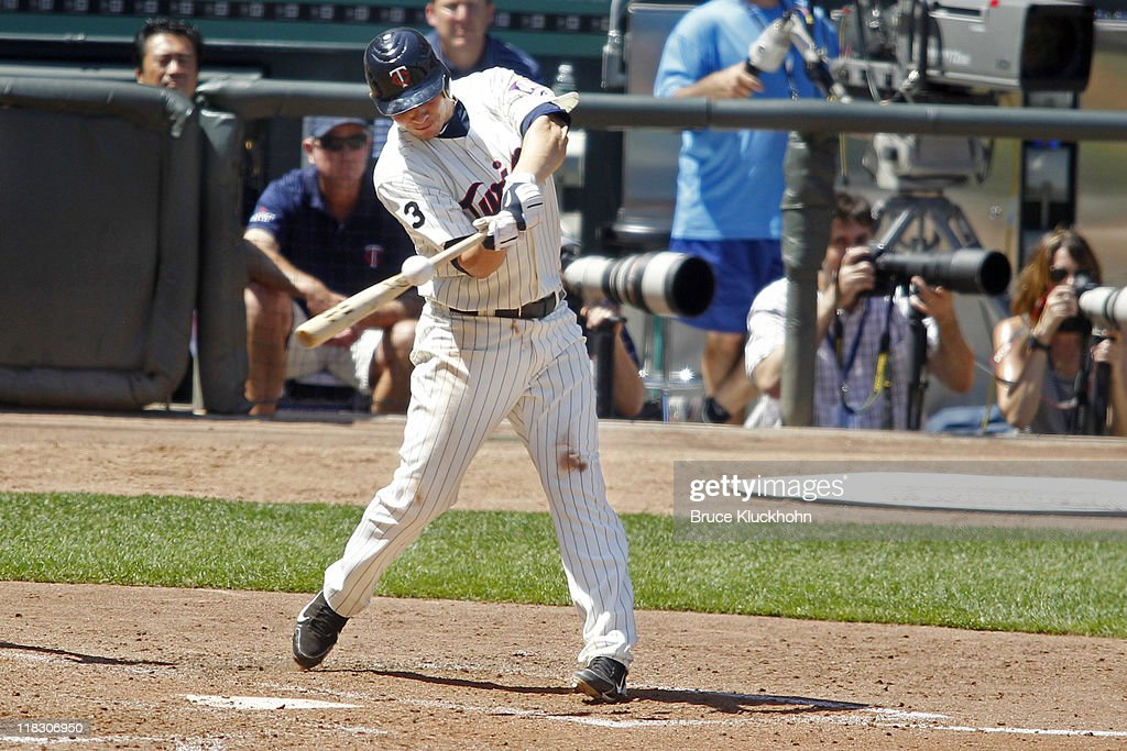 <a gi-track='captionPersonalityLinkClicked' href=/galleries/search?phrase=Danny+Valencia&family=editorial&specificpeople=5443820 ng-click='$event.stopPropagation()'>Danny Valencia</a> #19 of the Minnesota Twins bats against the Los Angeles Dodgers on June 29, 2011 at Target Field in Minneapolis, Minnesota. The Twins won 1-0.