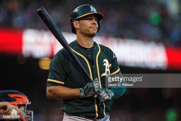 Danny Valencia of the Oakland Athletics at bat against the San Francisco Giants during the fourth inning at ATT Park on June 28 2016 in San Francisco...