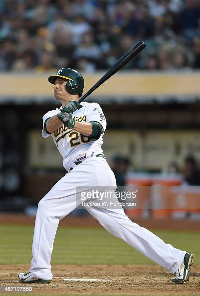 Danny Valencia of the Oakland Athletics bats against the Seattle Mariners in the bottom of the fourth inning at Oco Coliseum on September 5 2015 in...