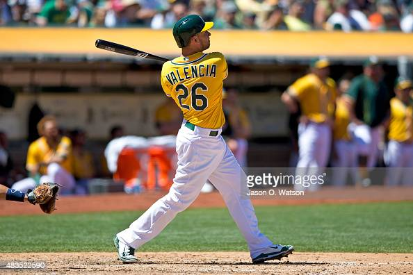Danny Valencia of the Oakland Athletics hits a home run against the Houston Astros during the fourth inning at Oco Coliseum on August 9 2015 in...