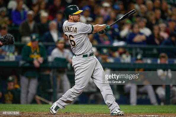 Danny Valencia of the Oakland Athletics hits a tworun home run in the eighth inning against the Seattle Mariners at Safeco Field on October 2 2015 in...