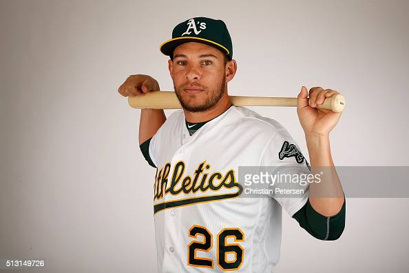 Danny Valencia of the Oakland Athletics poses for a portrait during the spring training photo day at HoHoKam Stadium on February 29 2016 in Mesa...