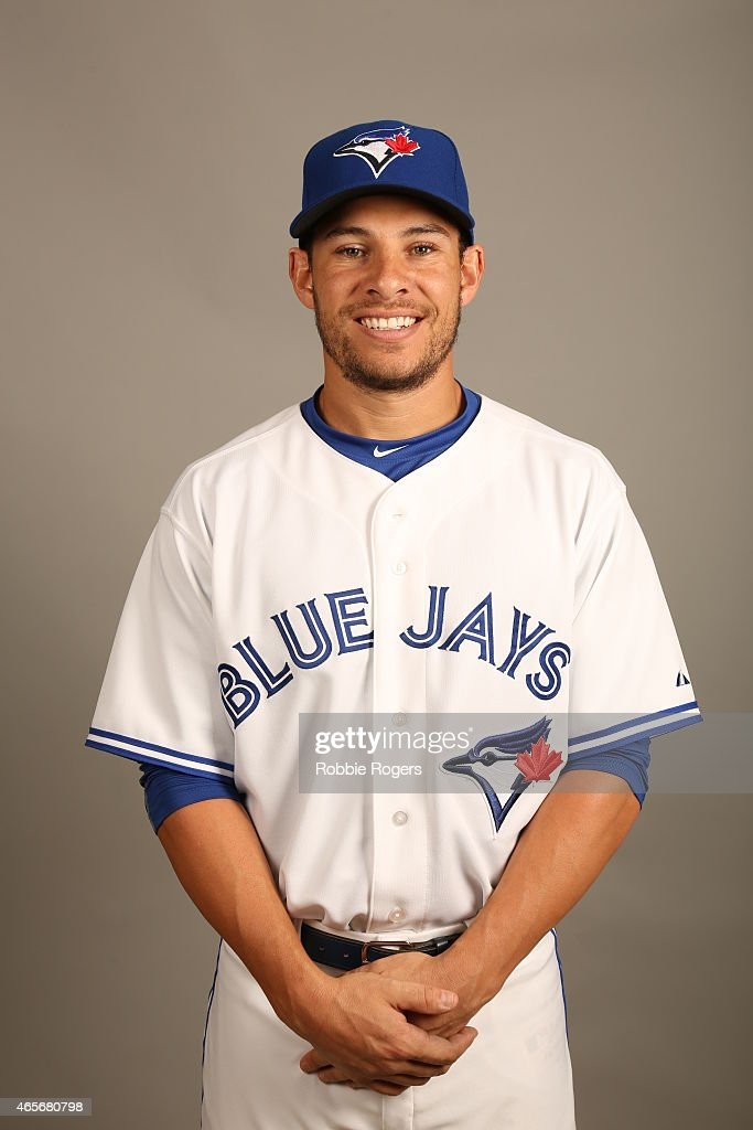 Danny Valencia #23 of the Toronto Blue Jays poses during Photo Day on Saturday, February 28, 2015 at Florida Auto Exchange Stadium in Dunedin, Florida.