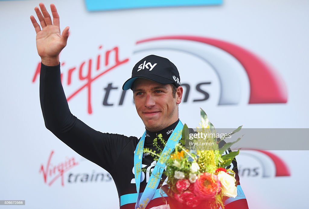 Danny Van Poppel of Team Sky and the Netherlands celebrates winning the second stage of the 2016 Tour de Yorkshire between Otley and Doncaster on April 30, 2016 in Doncaster, England.