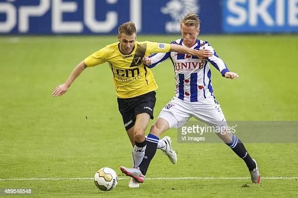 Danny Verbeek of NAC Breda Sam Larsson of sc Heerenveen during the Dutch Cup match between NAC Breda and SC Heerenveen on September 22 2015 at the...