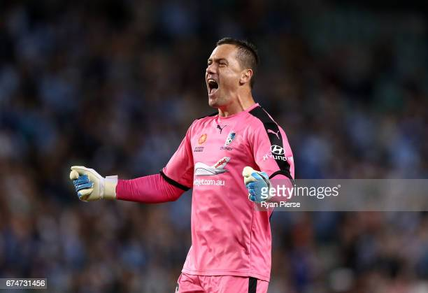 Danny Vukovic of Sydney FC celebrates after Joshua Brillante of Sydney FC scored their teams first goal during the ALeague Semi Final match between...