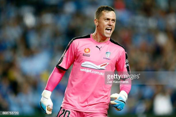 Danny Vukovic of Sydney FC celebrates after Sydney FC scored the second goal of the match during the round 27 ALeague match between Sydney FC and the...