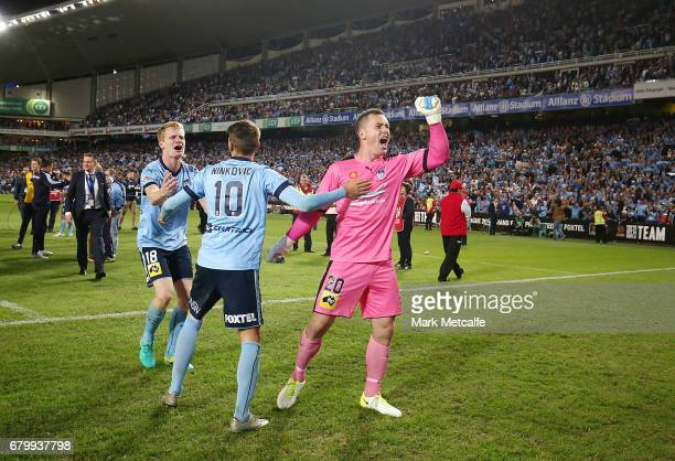 Danny Vukovic of Sydney FC celebrates after winning the 2017 ALeague Grand Final match between Sydney FC and the Melbourne Victory at Allianz Stadium...
