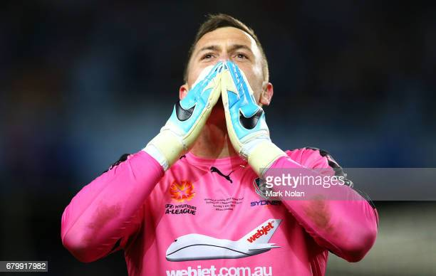 Danny Vukovic of Sydney FC celebrates winning during the 2017 ALeague Grand Final match between Sydney FC and the Melbourne Victory at Allianz...