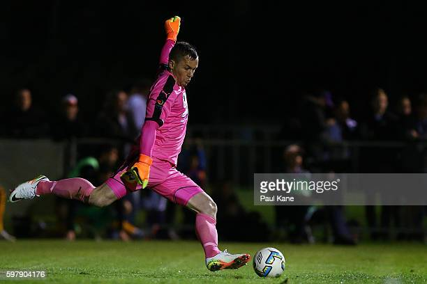 Danny Vukovic of Sydney kicks the ball out from goal during the round 16 FFA Cup match between Perth Glory and Sydney FC at Dorrien Gardens on August...