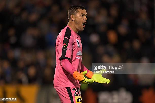 Danny Vukovic of Sydney reacts during the FFA Cup Semi Final match between Canberra Olympic and Sydney FC at Viking Park on October 19 2016 in...